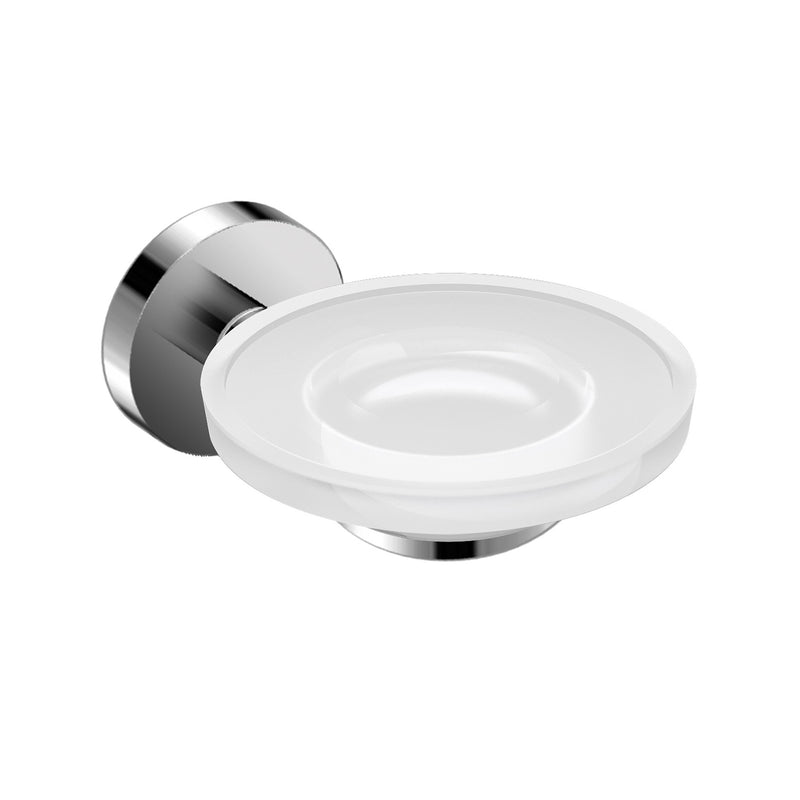 DAX Valencia Soap Dish, Tray, Wall Mount, White Glass, Chrome Finish, 4-1/3 x 5-1/8 x 2 Inches (DAX-GDC120132-CR)