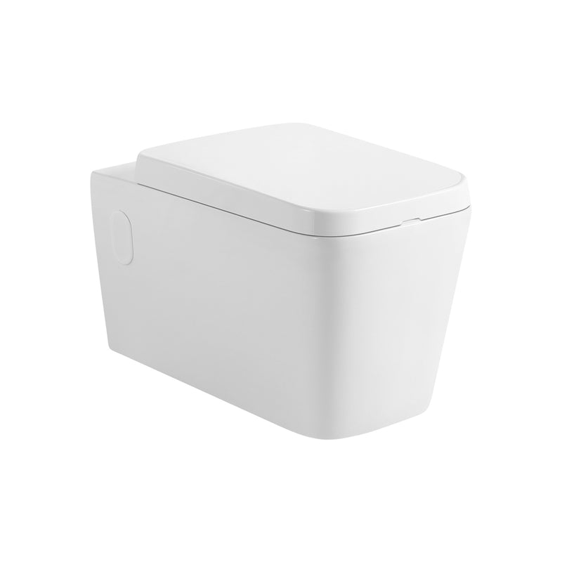 DAX One Piece Modern Square Toilet, Wall Mount with Soft Closing Seat and Dual Flush High-Efficiency, Ceramic, White Finish, Height 13 Inches (BSN-CL11002A)