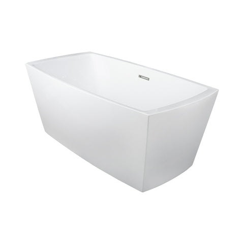 DAX Square Freestanding High Gloss Acrylic Bathtub with Central Drain and Overflow, Stainless Steel Frame, 59-1/16 x 23-5/8 Inches (BT-8017)