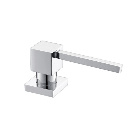 DAX Square Kitchen Sink Soap Dispenser, Deck Mount, Brass Body, Chrome Finish, 2-9/16 x 12-7/16 x 3-5/8 Inches (DAX-1001-CR)