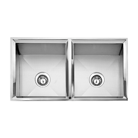 DAX Handmade 50/50 Double Bowl Undermount Kitchen Sink, 16 Gauge Stainless Steel, Brushed Finish, 33 x 18 x 9-1/2 Inches (DAX-SQ-3318C)