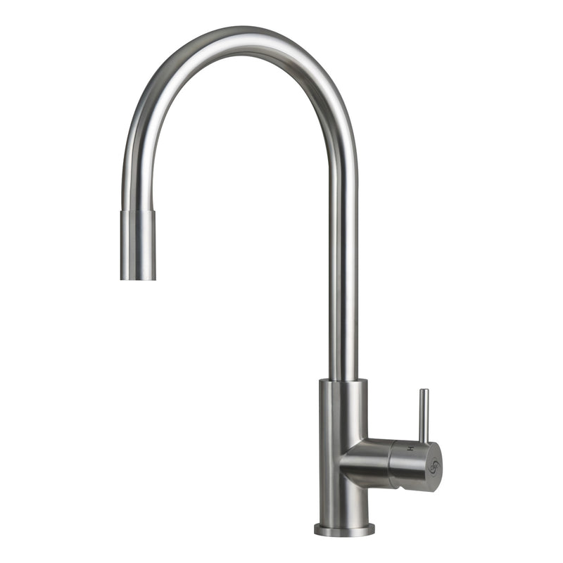 DAX Single Handle Pull Down Kitchen Faucet, Stainless Steel Shower Head and Body, Brushed Finish, Size 8-11/16 x 16-9/16 Inches (DAX-003-02-BN)