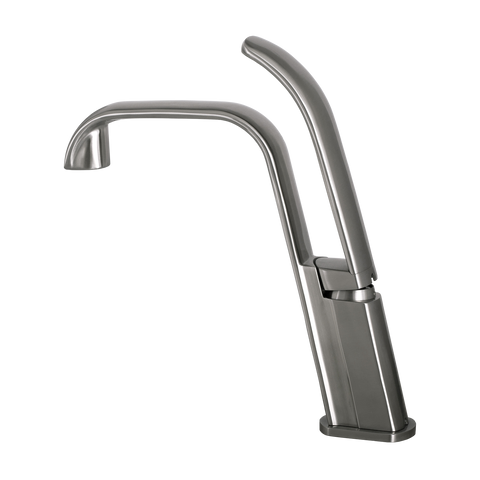 DAX Single Handle Bathroom Faucet, Stainless Steel Body, Brushed Finish, 10-13/16 x 11-1/2 Inches (DAX-C011-01)