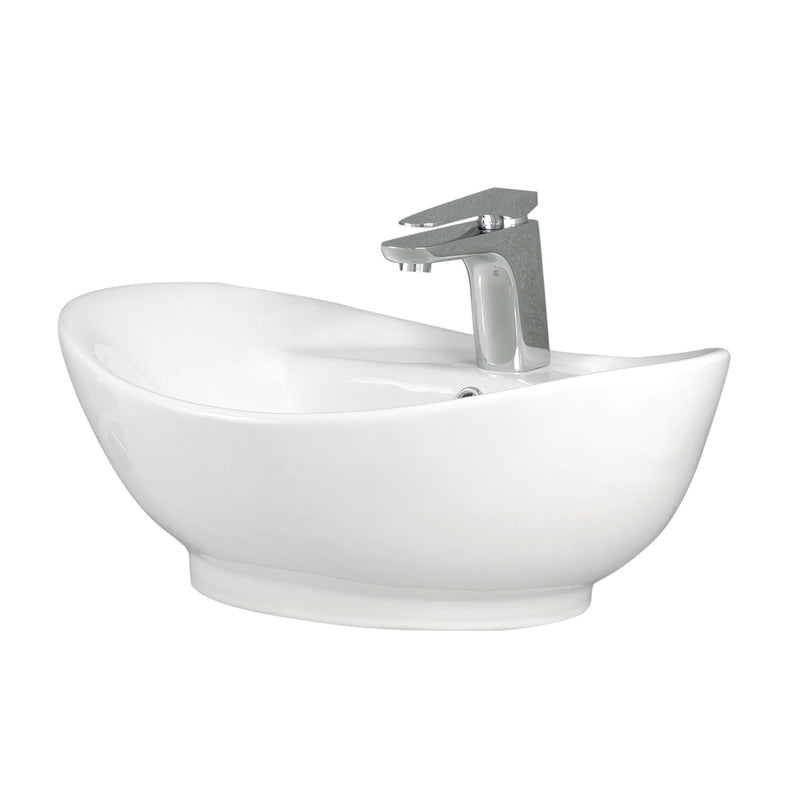 DAX Ceramic Oval Single Bowl Bathroom Vessel Sink, White Finish, 23-3/4 x 15 x 8-1/2 Inches (BSN-216)