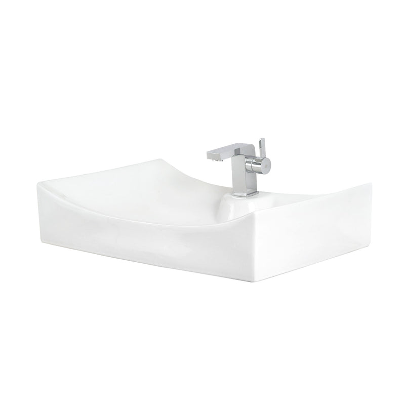 DAX Ceramic Rectangle Single Bowl Bathroom Vessel Sink, White Finish, 27-1/8 x 16-1/8 x 5-1/4 Inches (BSN-280A)