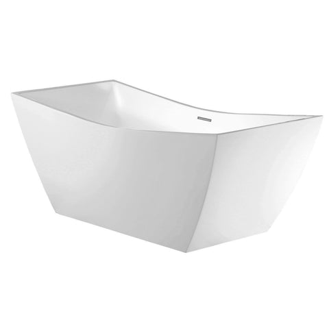 DAX Square Freestanding High Gloss Acrylic Bathtub with Central Drain and Overflow, Stainless Steel Frame, 66-15/16 x 26-3/4 x 31-1/2 Inches (BT-8086)