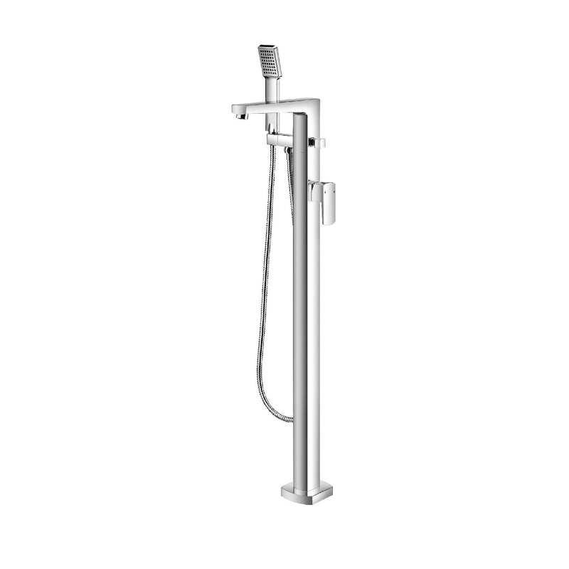 DAX Freestanding Hot Tub Filler with Hand Shower and Square Spout, Brass Body Chrome Finish, 39-3/8 x 9-1/16 Inches (DAX-8129)