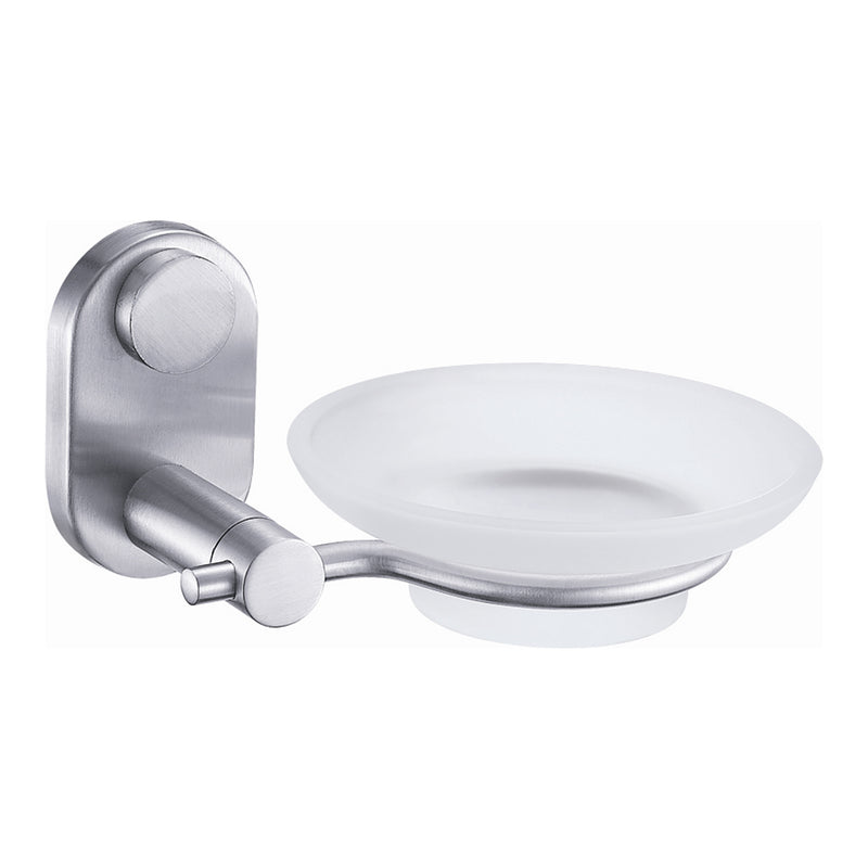 DAX Stainless Steel Soap Dish, Wall Mount with Glass Tray, Satin Finish, 4-1/2 x 5-1/2 x 2-13/16 Inches (DAX-G0205-S)