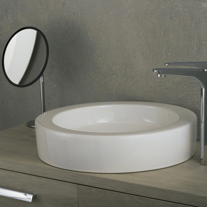 DAX Ceramic Round Single Bowl Bathroom Vessel Sink, White Finish, 17-15/16 x 3-15/16 x 17-15/16 Inches (BSN-CL1220)