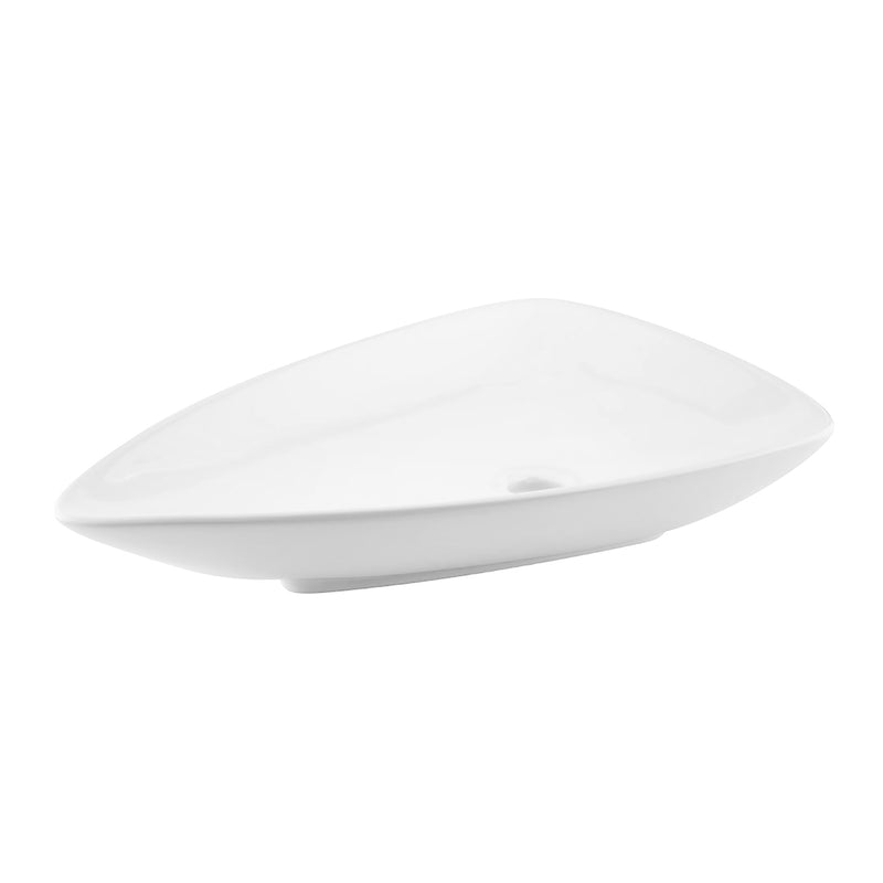 DAX Ceramic Triangle Single Bowl Bathroom Vessel Sink, White Finish, 26 x 18 x 5 Inches (BSN-223)