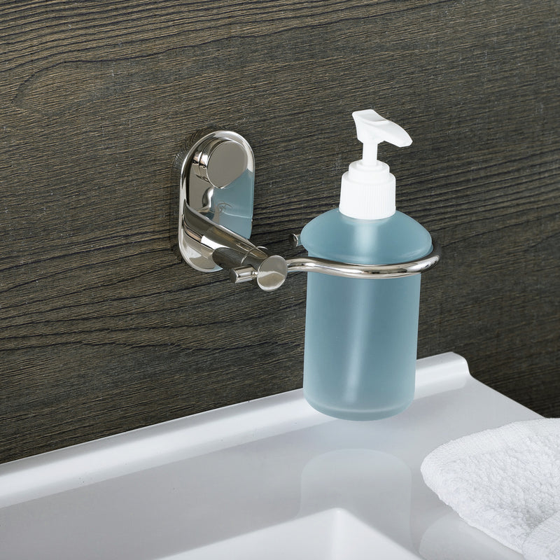 DAX Stainless Steel Soap Dispenser with Glass Bottle, Wall Mount, Satin Finish, 6-1/2 x 4-1/8 x 4-15/16 Inches (DAX-G0213-S)