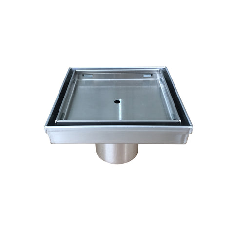 DAX Square Shower Floor Drain, Stainless Steel Body, Brushed Stainless Steel Finish, 4 x 4 Inches (RTZS3T01)