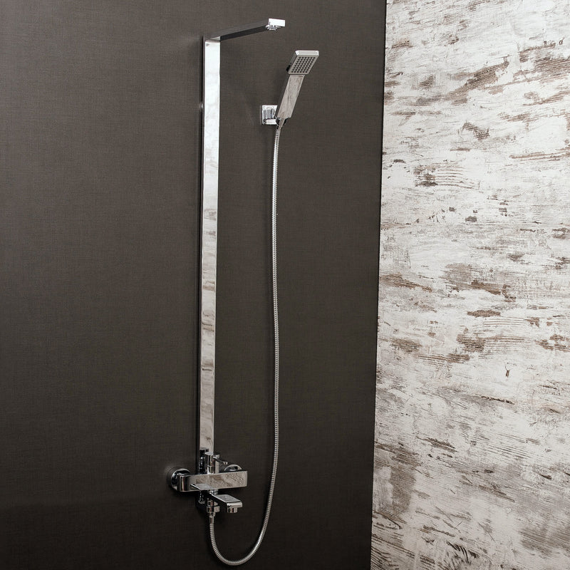 DAX Shower System, Faucet Set, with Shower Tub Trim and Hand Shower, Wall Mount, Brass Body, Chrome Finish (DAX-8166C-CR)