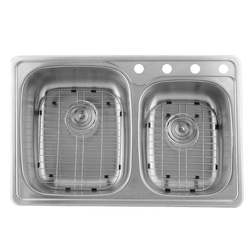 DAX  Double Bowl Top Mount Kitchen Sink, 20 Gauge Stainless Steel, Brushed Finish , 33-1/8 x 22 x 8 Inches (DAX-OM-911)