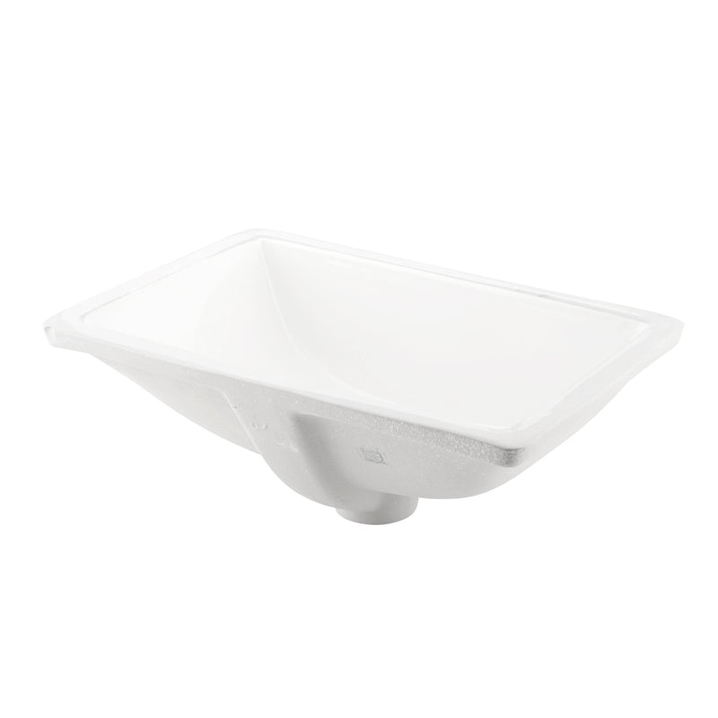 DAX Ceramic Square Single Bowl Undermount Bathroom Sink, White Finish, 18-1/8 x 12-13/16 x 7-1/4 Inches (BSN-202B-W)