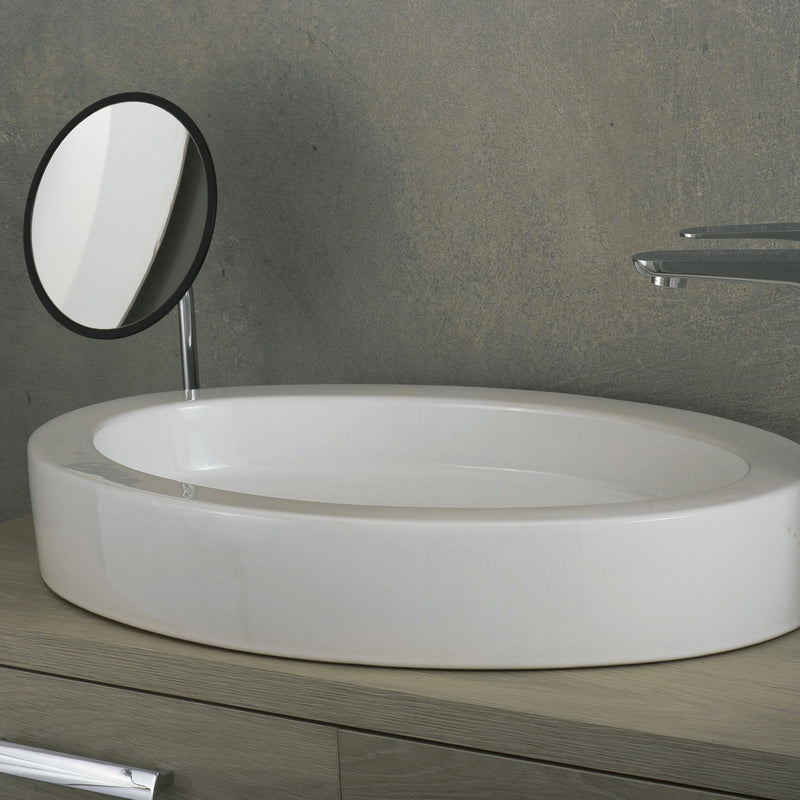 DAX Ceramic Oval Single Bowl Bathroom Vessel Sink, White Finish, 25 x 16-1/3 x 3-1/2 Inches (BSN-CL1219)