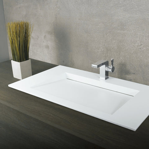 DAX Solid Surface Rectangle Single Bowl Top Mount Bathroom Sink, White Matte Finish,  35-1/4 x 19-5/8 x 3-1/2 Inches (DAX-AB-1331)