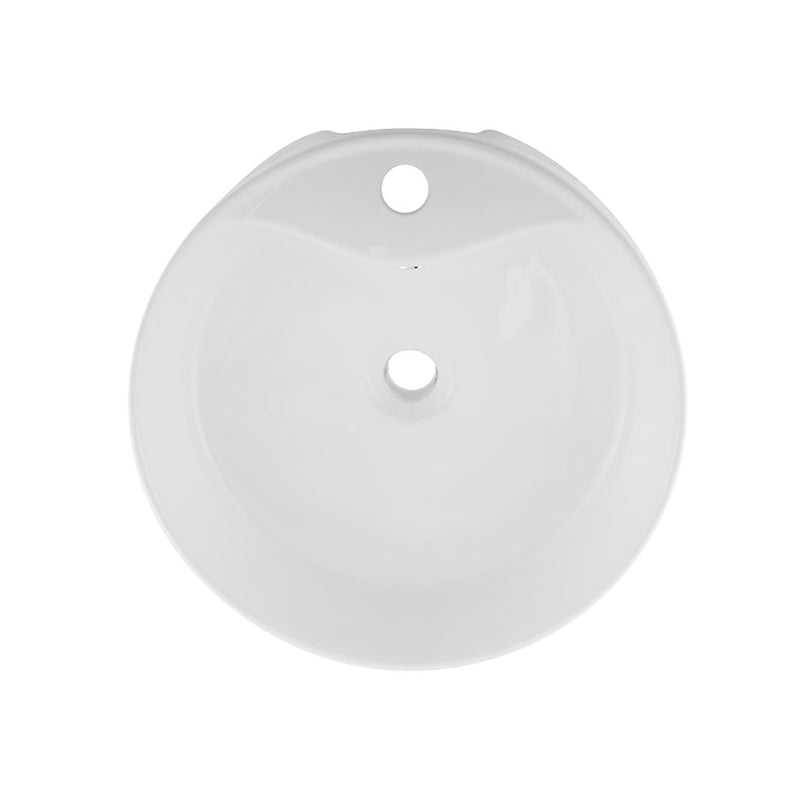 "DAX Ceramic Round Single Bowl Bathroom Vessel Sink, White Finish, Ø 1-7/8"" x D 6"" Inches (BSN-222A)"