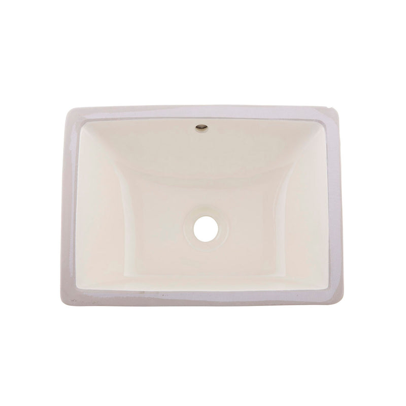 DAX Ceramic Square Single Bowl Undermount Bathroom Sink, Ivory Finish, 18-1/2 x 13 x 7-1/2 Inches (BSN-202B-I)