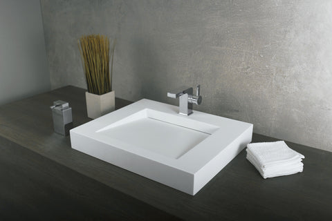 DAX Solid Surface Rectangle Single Bowl Top Mount Bathroom Sink,  23-1/4 x 19-5/16 x 3-1/8 Inches (DAX-AB-1330)