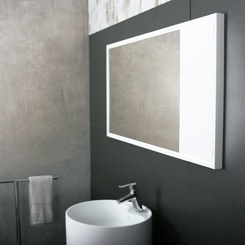 DAX Solid Surface Rectangle LED Backlit Bathroom Vanity Mirror, Wall Mount, 46-7/16 x 23-2/3 x 1-3/8 Inches (DAX-AB-1570)