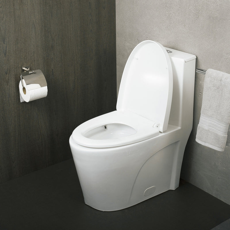 DAX One Piece Oval Toilet with Soft Closing Seat and Dual Flush High-Efficiency, Porcelain, White Finish, Height 31 Inches (BSN-CL12011)