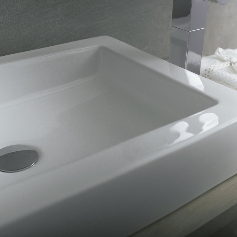 DAX Ceramic Rectangle Single Bowl Bathroom Vessel Sink, White Finish, 23-5/8 x 3-25/16 x 15-3/4 Inches (BSN-CL1221)