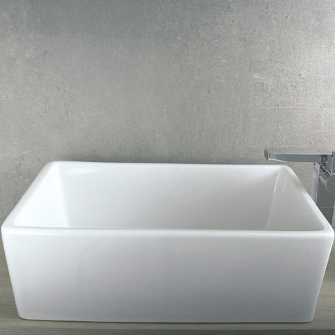 DAX Ceramic Rectangle Single Bowl Bathroom Vessel Sink, White Finish, 24-9/16 x 16-1/8 x 6-1/2 Inches (BSN-285K)