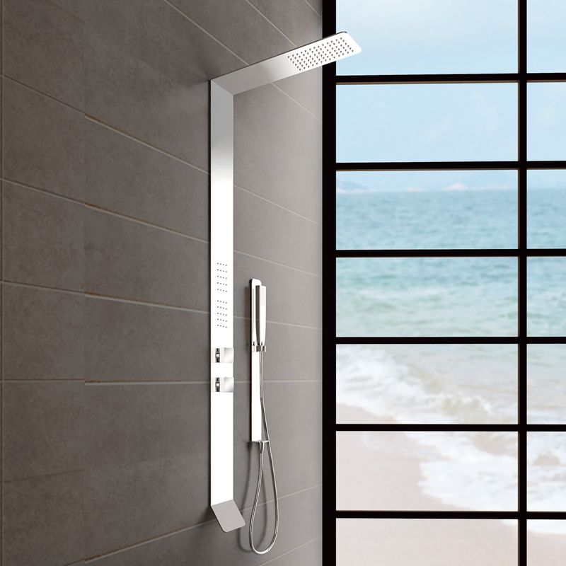DAX Brushed Stainless Steel Shower Panel With Pressure Balance Valve (DAX-034)