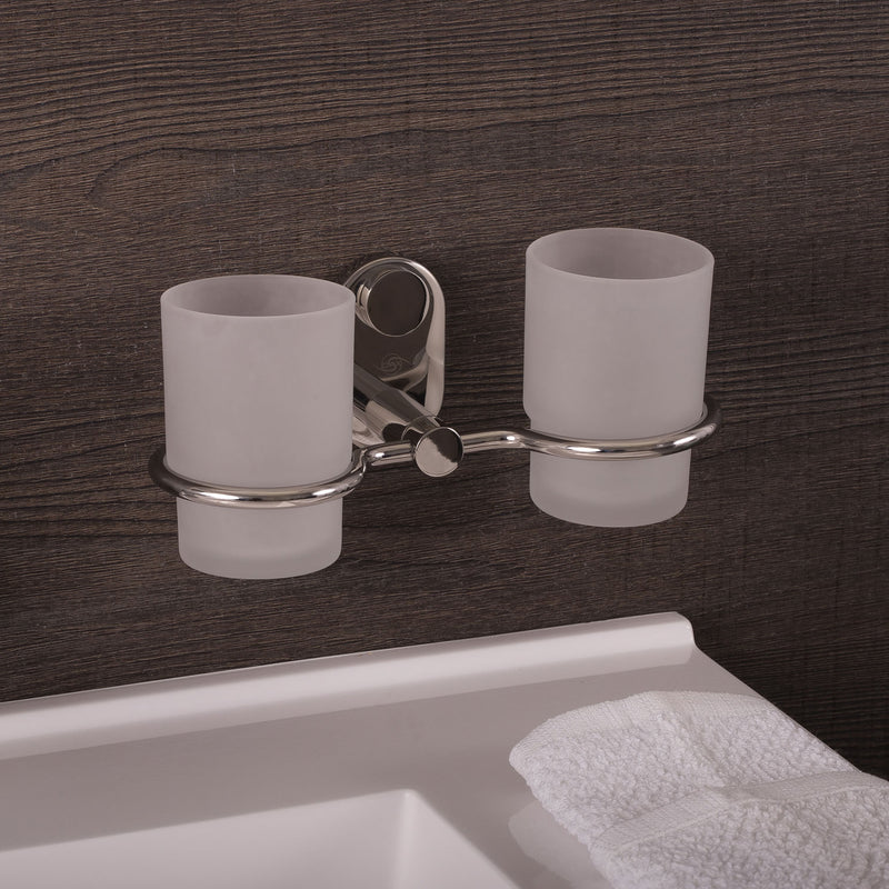 DAX Bathroom Double Tumbler Toothbrush Holder, Wall Mount Stainless Steel with Glass Cup, Satin Finish, 8-1/4 x 3-3/4 x 4-1/8 Inches (DAX-G0214-S)