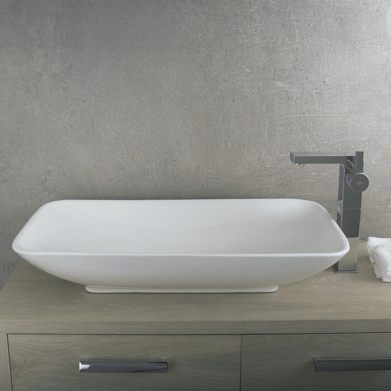 DAX Ceramic Rectangle Single Bowl Bathroom Vessel Sink, White Finish, 27-9/16 x 15-3/4 x 4-15/16 Inches (BSN-CL1055)