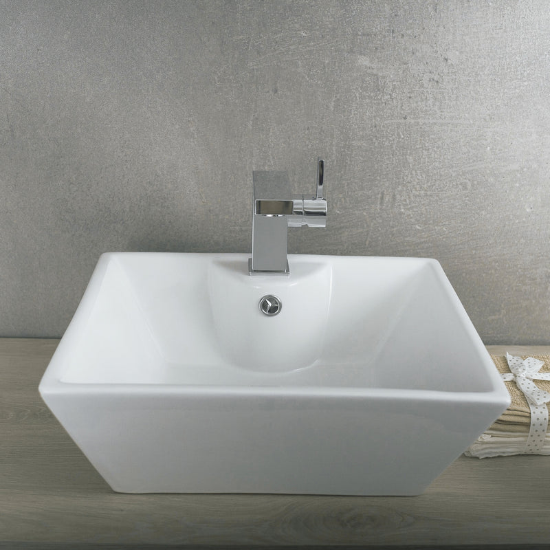 DAX Ceramic Square Single Bowl Bathroom Vessel Sink, White Finish,  18 x 6-1/2 x 15 Inches (BSN-233)