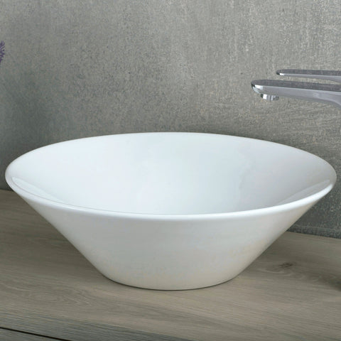 DAX Ceramic Round Single Bowl Bathroom Vessel Sink, White Finish, ?ò 17 x 5-1/2 Inches (BSN-234)