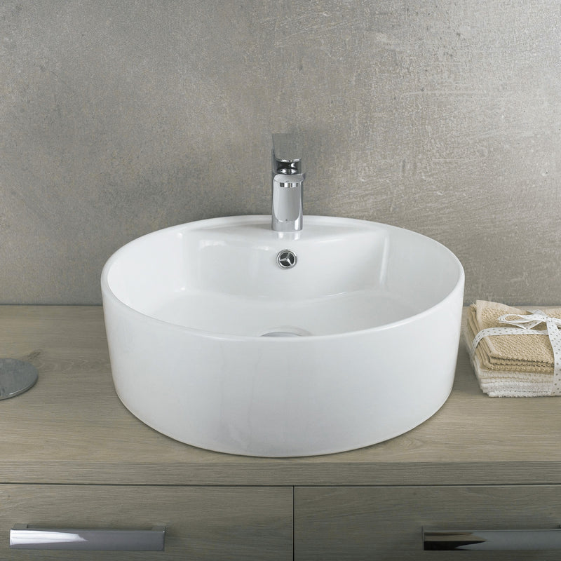 DAX Ceramic Round Single Bowl Bathroom Vessel Sink, White Finish, 18-5/16 x 5-15/16 x 18-5/16 Inches (BSN-222-A)