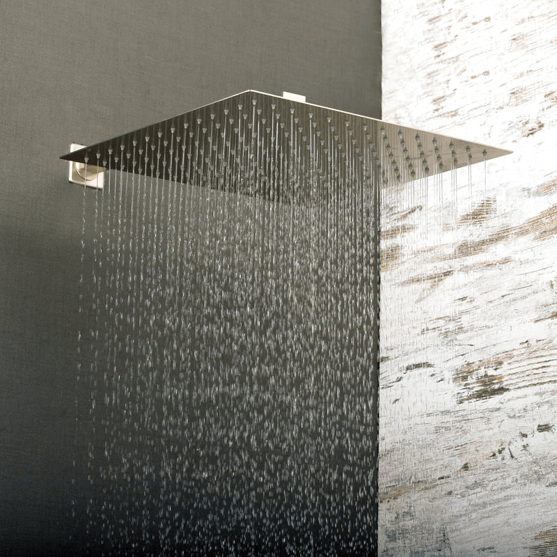 DAX Square Rain Shower Head, Ultra Thin, Brass Body, Brushed Nickel Finish (D-114040-BN)