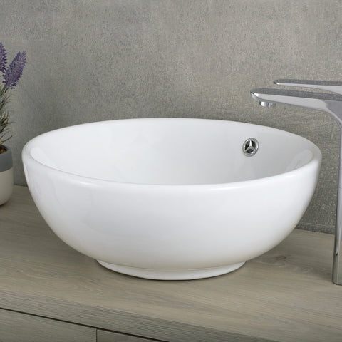 DAX Ceramic Round Single Bowl Bathroom Vessel Sink, White Finish, ?ò 17 x 6-11/16 Inches (BSN-215-W)
