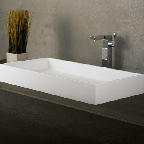 DAX Solid Surface Rectangle Single Bowl Bathroom Vessel Sink, White Matte Finish,  31-1/2 x 15-3/4 x 4-3/4 Inches (DAX-AB-1327)