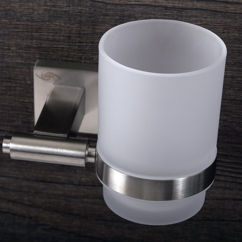 DAX Bathroom Single Tumbler Toothbrush Holder, Wall Mount Stainless Steel with Glass Cup, Polish Finish, 3-3/4 x 3-3/4 x 4-1/2 Inches (DAX-G0106-P)