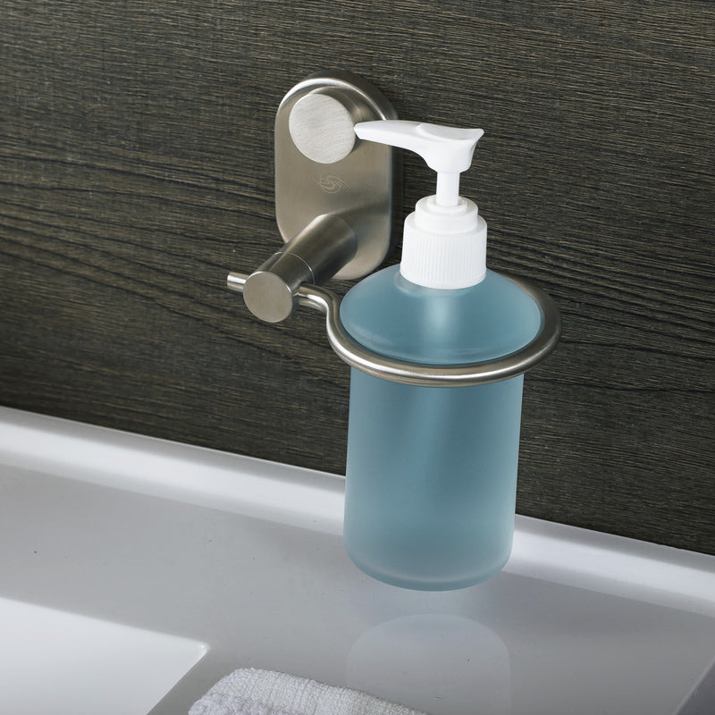 DAX Stainless Steel Soap Dispenser with Glass Bottle, Wall Mount, Polish Finish, 6-1/2 x 4-1/8 x 4-15/16 Inches (DAX-G0213-P)