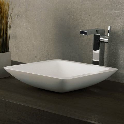 DAX Solid Surface Square Single Bowl Bathroom Vessel Sink, White Matte Finish, 16-1/2 x 16-1/2 x 4 Inches (DAX-AB-1320)
