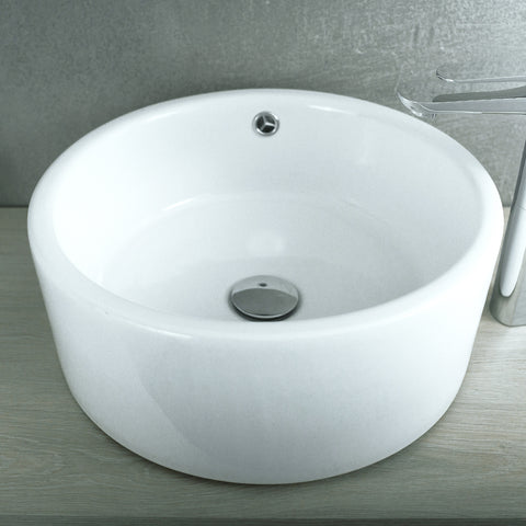 DAX Ceramic Round Single Bowl Bathroom Vessel Sink, White Finish, ?ò 16-1/2 x 4-1/2 Inches (BSN-218)