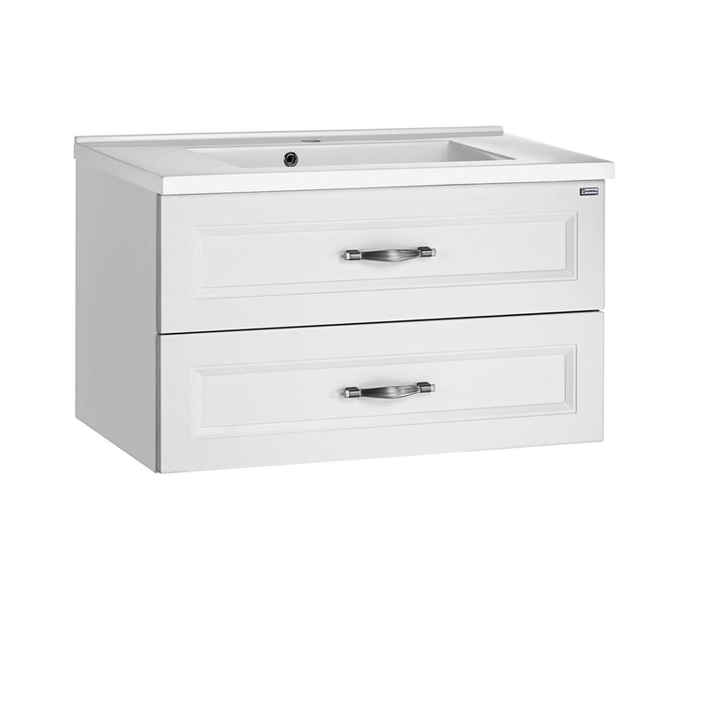 "24"" Single Vanity, Wall Mount, 2 Drawers with Soft Close, White Matt, Serie Class by VALENZUELA"