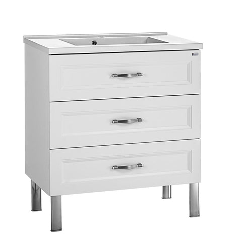 "32"" Single Vanity, Floor Mount, 3 Drawers with Soft Close, White Matt, Serie Class by VALENZUELA"