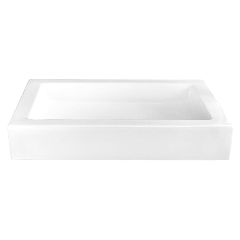 DAX Ceramic Rectangle Single Bowl Bathroom Vessel Sink, White Finish, 23-3/4 x 15-3/8 x 3-3/8 Inches (BSN-CL1221)
