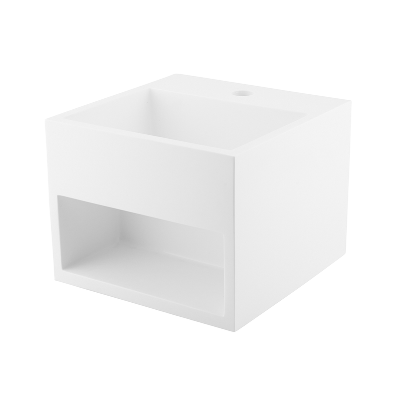 DAX Solid Surface Square Single Bowl Bathroom Sink Cabinet, White Matte Finish,  12-4/5 x 12-4/5 x 9-7/8 Inches (DAX-AB-1360)