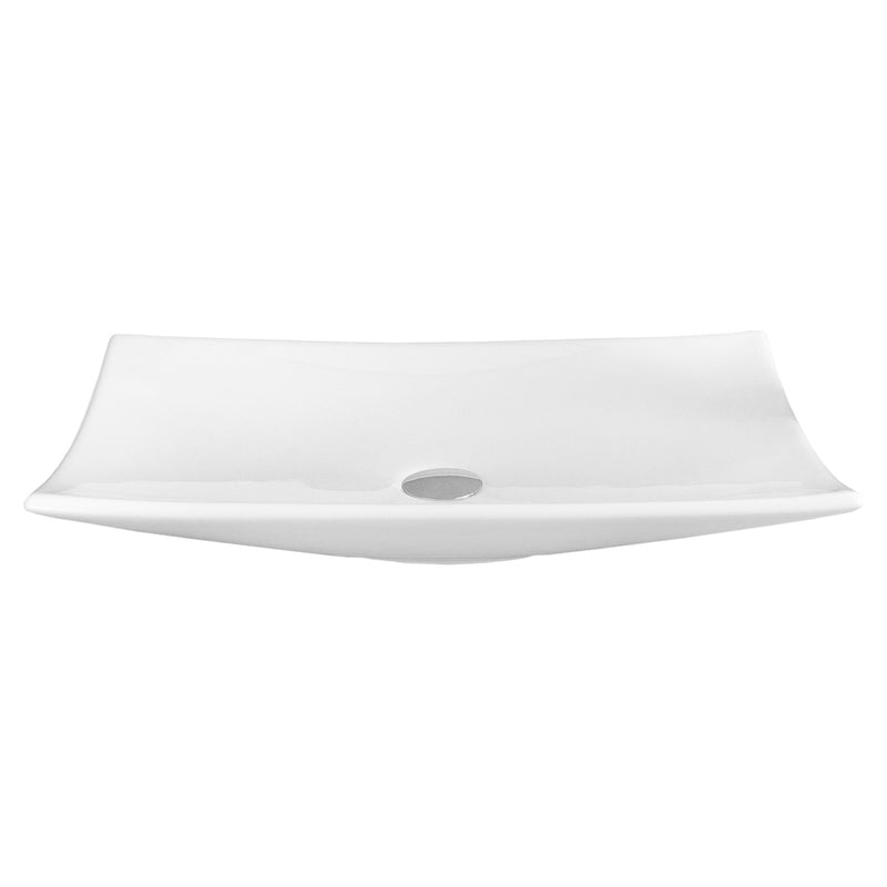 DAX Ceramic Rectangle Single Bowl Bathroom Vessel Sink, White Finish, 23-3/4 x 15-3/8 x 4-1/2 Inches (BSN-CL1056)
