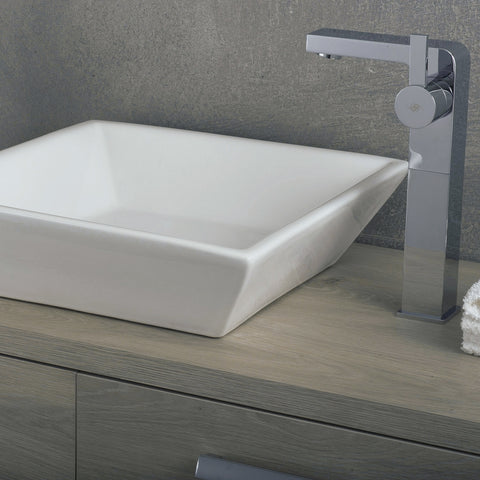 DAX Ceramic Square Single Bowl Bathroom Vessel Sink, White Finish, 16-1/2 x 16-1/2 x 4-3/4 Inches (BSN-230)
