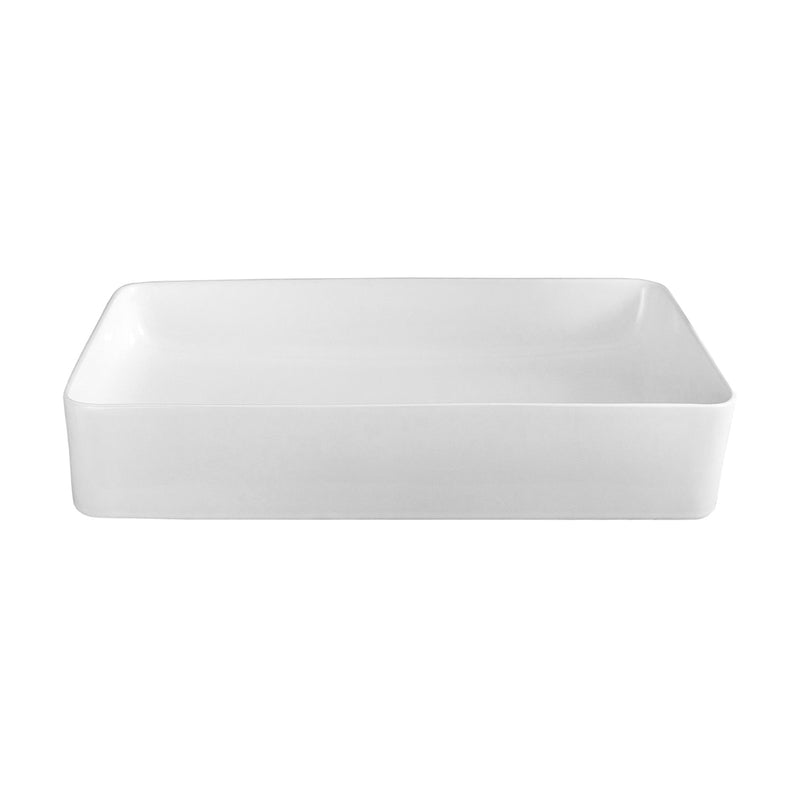 DAX Ceramic Rectangle Single Bowl Bathroom Vessel Sink, White Finish, 19 x 14-1/2 x 5 Inches (BSN-285B)