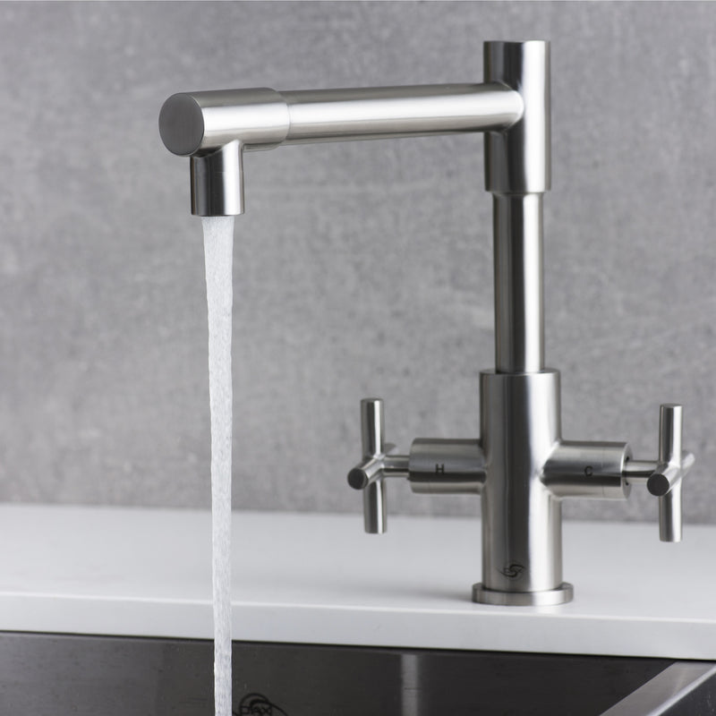 DAX Double Handle Kitchen Faucet, Stainless Steel Body, Brushed Finish, Size 9-5/16 x 11-3/16 Inches (DAX-009-03)