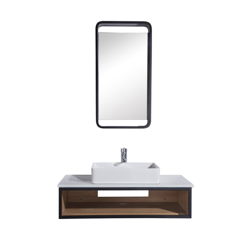 "36"" Single Vanity Cabinet Set, Wall Mount, Mirror and White Ceramic Vessel Sink with Gloss White Glass Countertop and Shelf, Ash Finish, Citta Collection by DAX"
